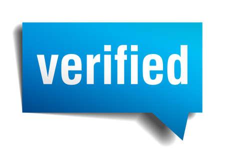 approbation: Verificata blu 3d realistica fumetto carta isolato su bianco