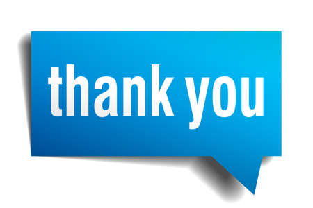 Thank you blue 3d realistic paper speech bubble isolated on white