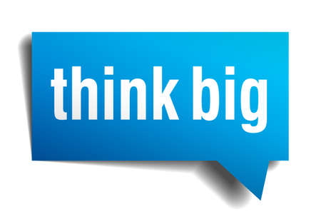 Think big blue 3d realistic paper speech bubble isolated on white  Vector