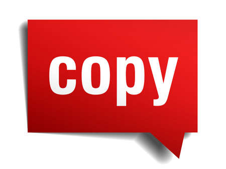 Copy red 3d realistic paper speech bubble isolated on white