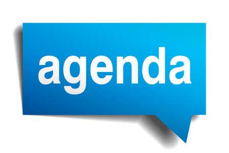 agenda: Agenda blue 3d realistic paper speech bubble isolated on white