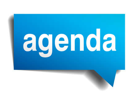 Agenda blue 3d realistic paper speech bubble isolated on white