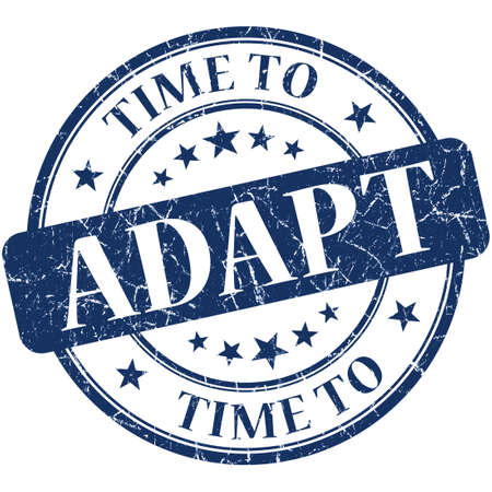 adapt: Time to adapt blue round grungy vintage isolated rubber stamp Stock Photo