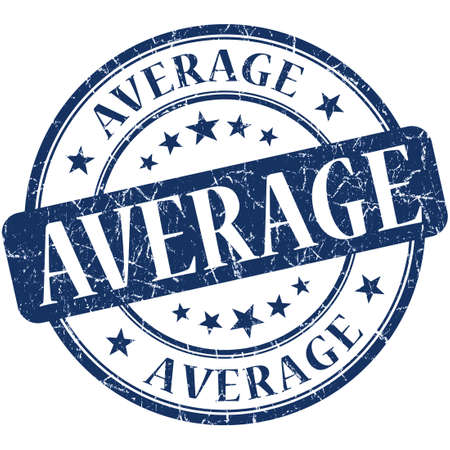 average: Average blue round grungy vintage isolated rubber stamp