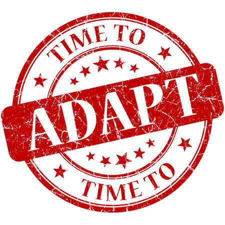 adapt: Time to adapt red round grungy vintage isolated rubber stamp Stock Photo