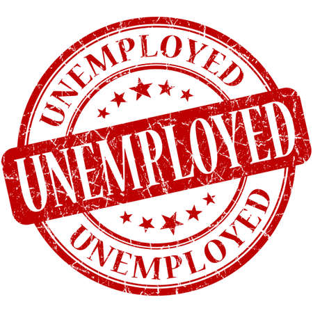 re employment: Unemployed red round grungy vintage rubber stamp Stock Photo