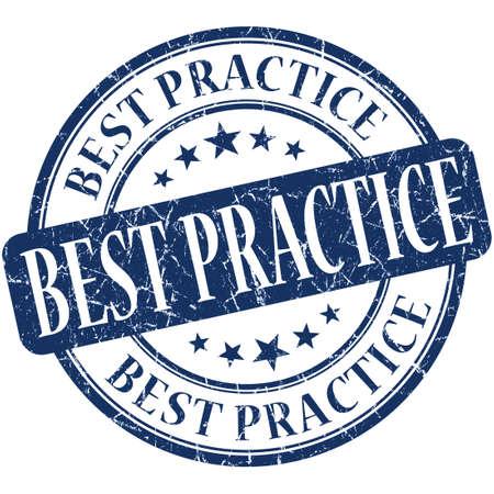 best practice: Best practice blue round grungy vintage rubber stamp