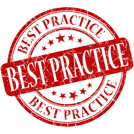 best practice: Best practice red round grungy vintage rubber stamp Stock Photo