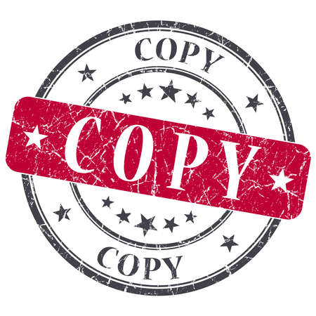 replicated: Copy red round grungy stamp isolated on white background