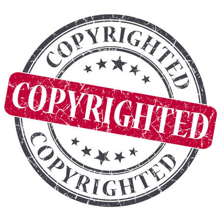 copyrighted: copyrighted red round grungy stamp isolated on white background Stock Photo