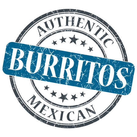 Burritos blue round grungy stamp isolated on white background photo