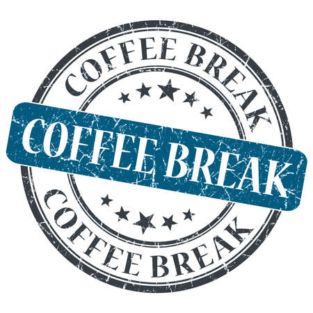 Coffee break blue round grungy stamp isolated on white background photo