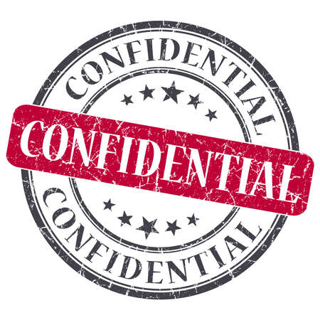 confidentiality: Confidential red round grungy stamp isolated on white background