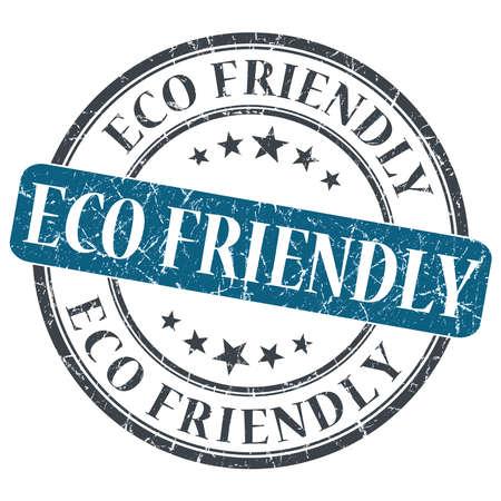 eco-vriendelijke blauwe ronde grungy stempel geïsoleerd op een witte achtergrond