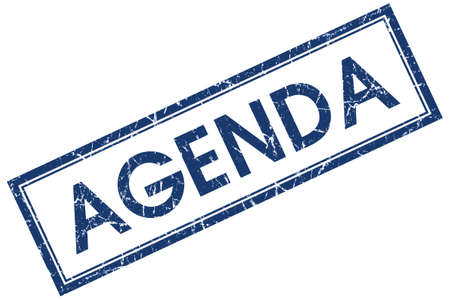 Agenda blue square grungy stamp isolated on white background