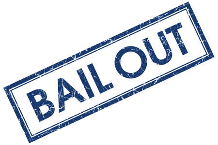 bail: Bail out blue square grungy stamp isolated on white background Stock Photo