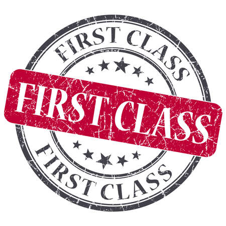 First class red round grungy stamp isolated on white background photo