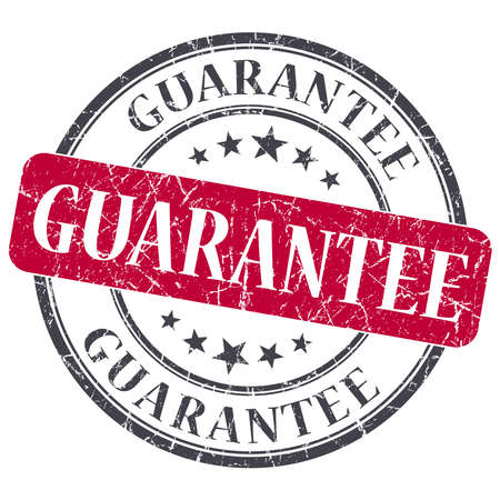guarantee red round grungy stamp isolated on white background photo