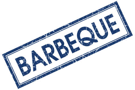 Barbeque blue square grungy stamp isolated on white background photo