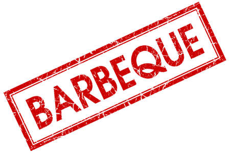 Barbeque red square grungy stamp isolated on white background photo