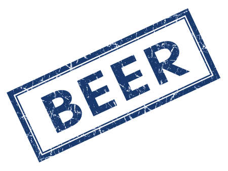Beer blue square grungy stamp isolated on white background Stock Photo - 28748736