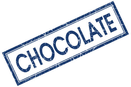 Chocolate blue square grungy stamp isolated on white background photo