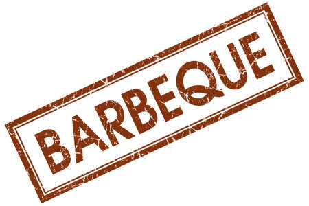 Barbeque brown square grungy stamp isolated on white background photo