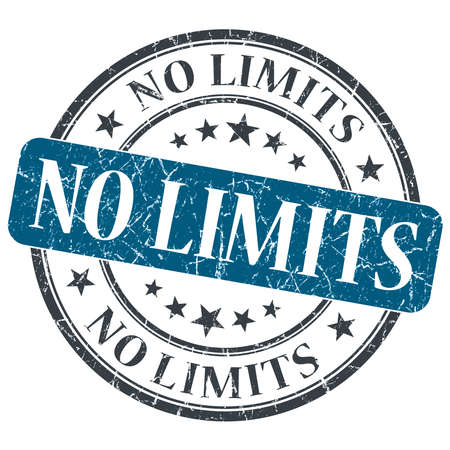 limitation: No limits blue round grungy stamp isolated on white background