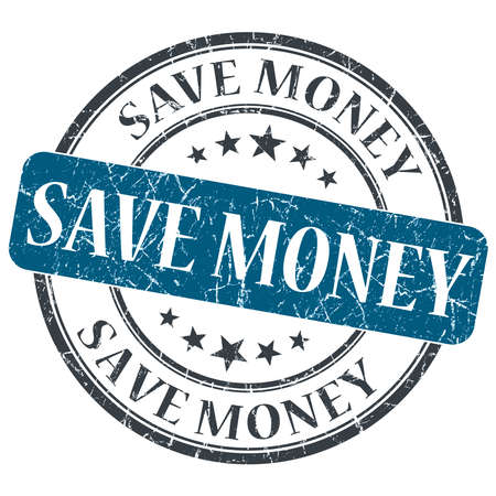 Save money blue round grungy stamp isolated on white background photo