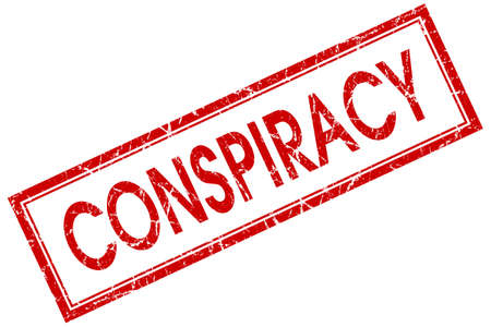 conspire: Conspiracy red square grungy stamp isolated on white background Stock Photo