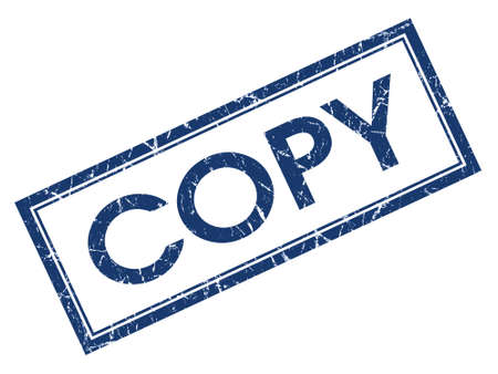 Copy blue square grungy stamp isolated on white background Stock Photo