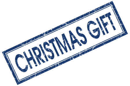 Christmas gift blue square grungy stamp isolated on white background photo