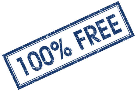 freebie: 100 percent free blue square grungy stamp isolated on white background