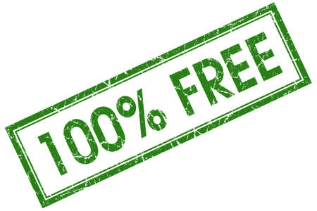 100 percent free green square grungy stamp isolated on white background photo