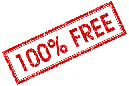 freebie: 100 percent free red square grungy stamp isolated on white background Stock Photo