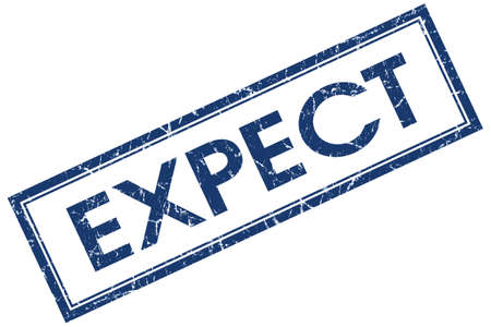 to expect: Expect blue square grungy stamp isolated on white background