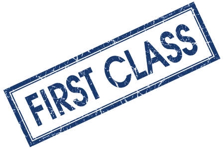 First class blue square grungy stamp isolated on white background photo