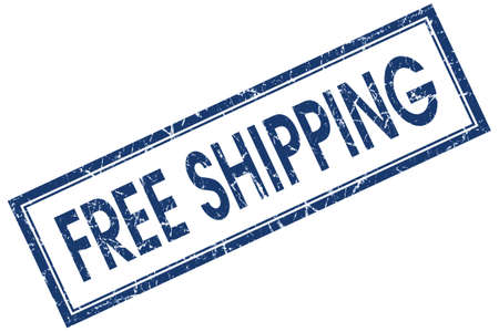 Free shipping blue square grungy stamp isolated on white background photo