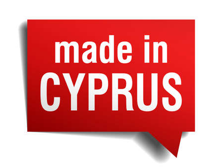 made in Cyprus red 3d realistic speech bubble isolated on white background Vector