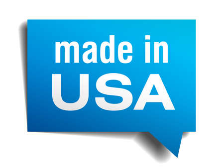 made in USA blue 3d realistic speech bubble isolated on white background Vector