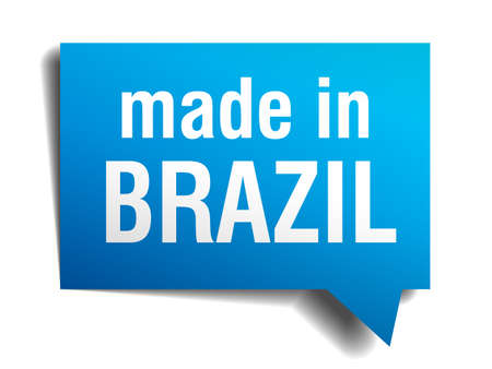 made in Brazil blue 3d realistic speech bubble isolated on white background Vector