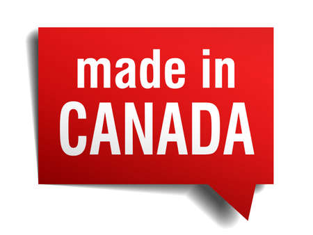 made in Canada red 3d realistic speech bubble isolated on white background Vector