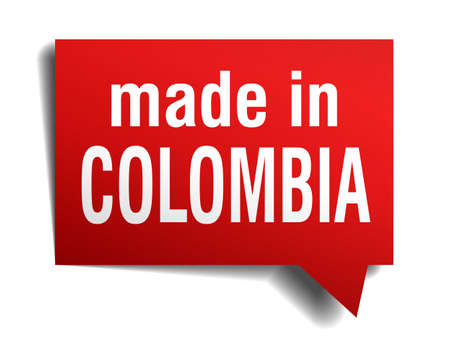 made in Colombia red 3d realistic speech bubble isolated on white background Vector