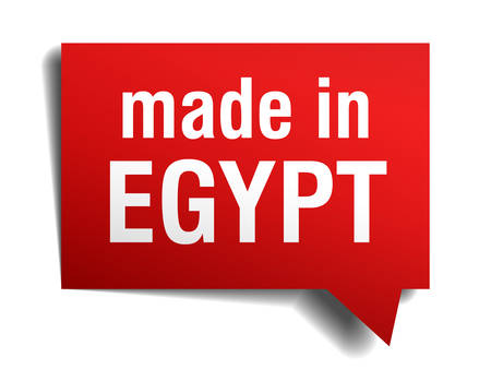made in Egypt red 3d realistic speech bubble isolated on white background Vector