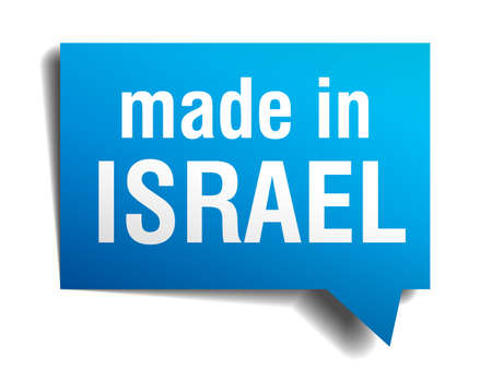 made in Israel blue 3d realistic speech bubble isolated on white background Vector