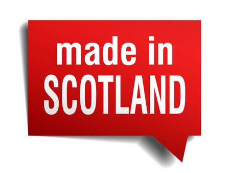 made in Scotland red 3d realistic speech bubble isolated on white background Vector