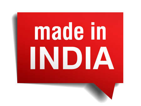 made in India red  3d realistic speech bubble isolated on white background Vector