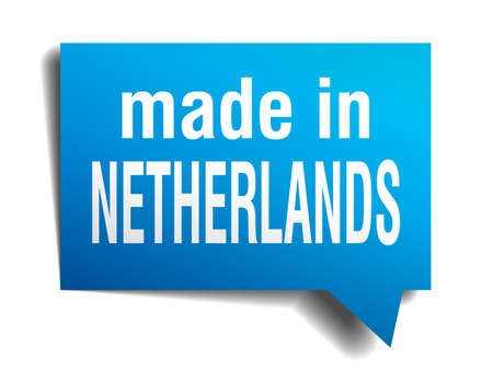 made in Netherlands blue 3d realistic speech bubble isolated on white background