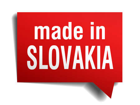 made in Slovakia red  3d realistic speech bubble isolated on white background Vector