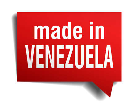 made in Venezuela red  3d realistic speech bubble isolated on white background Vector